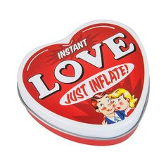 The inflatable heart in a little tin is a wonderful Valentines Day present if you are looking to give someone your heart. Love at first sight? Funny Mothers Day Gifts, Funny Gifts, Valentines Day Presents, Be My Valentine, Top Love Songs, Reasons I Love You, Heart Shaped Cookies, Weird Gifts, The Perfect Getaway