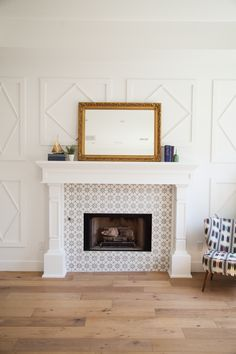 Custom millwork fireplace mantel and surround with inlaid cement ...