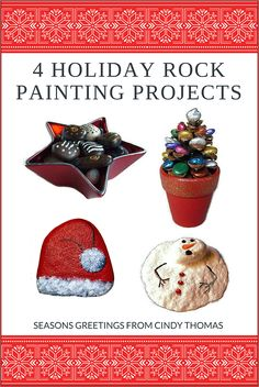 Christmas Holiday Painted Rocks Projects