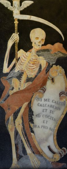 """Grim Reaper Memorial Stone """"Qui me calcas calcaberis et tu id cogita et ora pro me"""". (You who tread on me will soon be trodden on) by jerry dohnal"""
