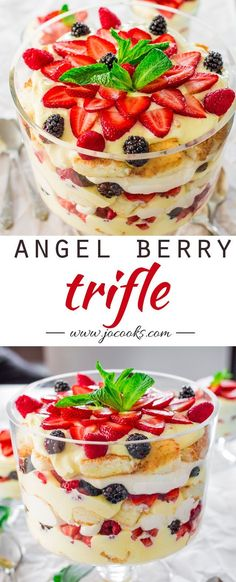 This Angel Berry Trifle is so easy and perfect for Easter. This berry trifle is made with angel food cake and a vanilla pudding cream cheese custard. Desserts Keto, Mini Desserts, Summer Desserts, Easy Desserts, Delicious Desserts, Yummy Food, Fruit Trifle Desserts, Angel Food Cake Desserts, Trifle Cake
