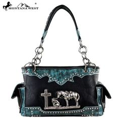 Montana West Handbag spiritual Horse Collection  Satchel Purse Black #MontanaWest #ShoulderBag
