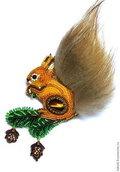 """Купить Брошь """"Белочка"""" - оранжевый, белка брошь, брошь ручной работы, подарок, животное, хвост"""