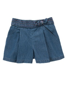Pickstitched Chambray Culotte Short -- Gymboree