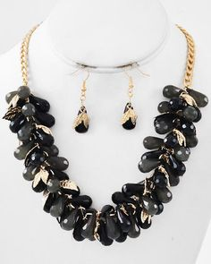 Gold Tone / Black & Grey Acrylic / Lead Compliant / Leaf / Cluster Style / Necklace & Fish Hook Earring Set