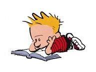Calvin reads.