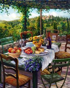 A Different View by Susan Rios ~ terrace dining in wine country