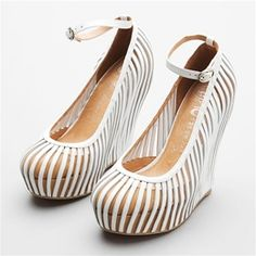 """Jeffrey Campbell So-Crazy - White/Nude: 5.25"""" wedge heel with a 1.5"""" platform #148. #Soes #Jeffrey_Campbell"""
