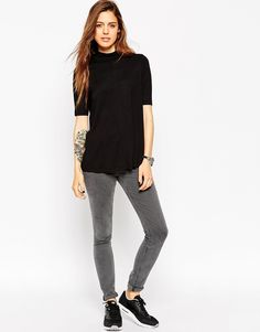 Image 4 of ASOS The Turtle Neck Swing Top With Short Sleeve