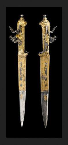 Hunting Knife & Flintlock Pistol.      Dated: circa 1770.     Culture: German.  Copyright © 2000–2013 Fischer Kunst-und-Antiquitätenauktionen