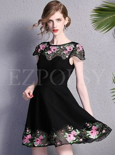 Shop for high quality Mesh Embroidery Patch Dress online at cheap prices and discover fashion at Ezpopsy.com