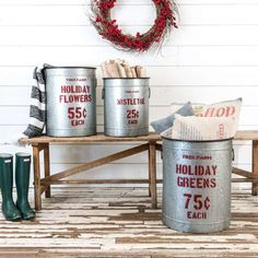 TIN CHRISTMAS CANISTERS: $54 - $85