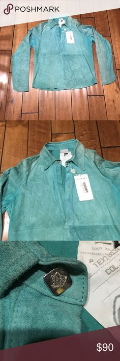 Versace Jeans Couture suede shirt Size L, this is absolutely never been worn, but was in The closet for few years, has some discoloration, but not a lot Versace Jackets & Coats Lightweight & Shirt Jackets