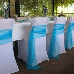 Lovin' the sash tie! Our chair covers at this event will be black though. Wedding Chair Sashes, Wedding Chair Decorations, Wedding Chairs, Wedding Table, Wedding Reception, Chair Bows, Deco Table, Chair Covers, Here Comes The Bride