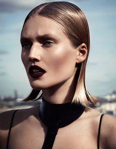 Fashion: New York City Style. A slicked back bob and dark lipstick. Model Toni Garrn.