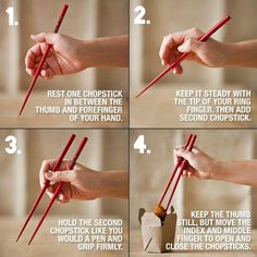 How to properly use chopsticks diy easy diy diy tips tips tutorials life hacks life hack chop sticks. 1000 Life Hacks, Useful Life Hacks, Comment Dresser Une Table, Using Chopsticks, How To Hold Chopsticks, Dining Etiquette, Etiquette And Manners, Table Manners, Info Board