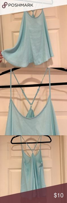 Blue flowey tank Sky blue tank top with adjustable straps. Never worn. Forever 21 Tops Tank Tops
