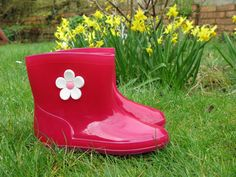 Girls Fashion Red Wellies Wellington Boots with Flower Design,