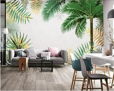Hand Painted Tropical Palm Tree Landscape Scenic Wallpaper Wall Mural, Abstract Palm Tree with Tropical Leaves Scenic Wall Mural Wall Decor Scenic Wallpaper, Wall Wallpaper, Eames, Palm Trees Landscaping, Bedroom Decor, Wall Decor, Open Wall, Cleaning Walls, Make Design