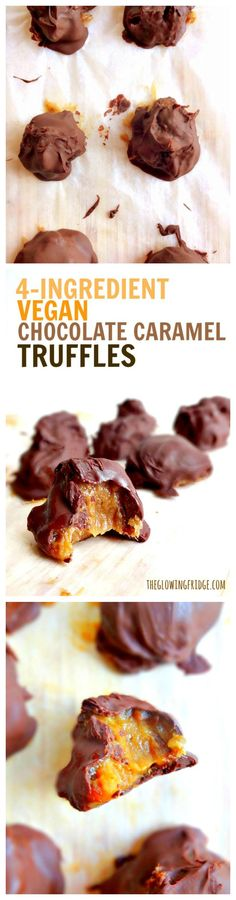 MAGICAL - Vegan Chocolate Caramel Truffles - only 4 ingredients and no bake with gooey date caramel, drenched in melted vegan chocolate #vegan #glutenfree (Raw Ingredients Glutenfree)