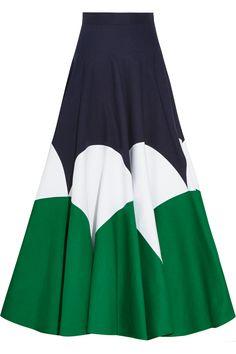 DELPOZO|Color-block cotton-poplin maxi skirt|NET-A-PORTER.COM