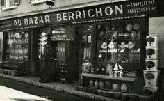 La boutique Au bazar berrichon dans les années 1930, avec Denise, la fille des anciens propriétaires, Gaston et Reine Beauvois. - marion lap... Berry, Bourges, Cher, Broadway Shows, Restaurant, France, Boutique, Vintage, Glass Display Case
