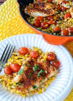Mexican Corn & Grape Tomato Skillet with Grouper recipe by Katie's Cucina