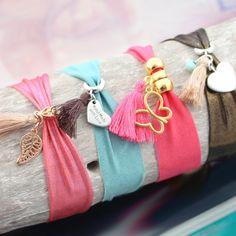 Ribbon Bracelets, Bead Loom Bracelets, Elastic Ribbon, Elastic Hair Ties, Handmade Bracelets, Handmade Jewelry, Cute Anklets, Baby Girl Accessories, Wire Jewelry Making