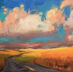 """Daily Paintworks - """"Oregon Wheatfield Zig Zag Road"""" - Original Fine Art for Sale - © Cathleen Rehfeld Landscape Artwork, Abstract Landscape Painting, Contemporary Landscape, Sky Painting, Road Painting, Simple Oil Painting, Guache, Painting Techniques, Art Photography"""