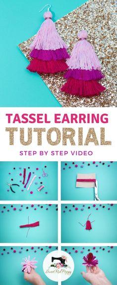 Layered Tassel Earrings Learn How to Create your own Layered Tassel Earrings with this Simple DIY Tutorial using DMC Embroidery Floss.Learn How to Create your own Layered Tassel Earrings with this Simple DIY Tutorial using DMC Embroidery Floss. Earring Tutorial, Diy Tutorial, Sewing Hacks, Sewing Tutorials, Craft Tutorials, Sewing Tips, Craft Ideas, Diy Tassel Earrings, Tassel Jewelry