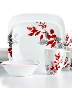 Corelle Dinnerware, Kyoto Leaves 16 Piece Set - Casual Dinnerware - Dining & Entertaining - Macy's<<< My price beats them any day! Casual Dinnerware, Dinnerware Sets, Pottery Painting, Ceramic Painting, Painted Pottery, Kyoto, Cerámica Ideas, Square Plates, Porcelain Mugs