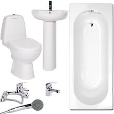 The Deity 1500 Bathroom Suite, priced at £236.95. The Deity 1500 Bathroom Suite comprised of 1500mm bath, basin, pedestal, toilet, cistern, mono basin mixer and shower bath mixer. All available for one great price with a one year guarantee. Order now at - http://www.taps.co.uk/deity-1500-bathroom-suite.html