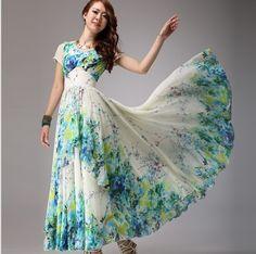 1078f49baed94 2014 fashion summer long dress women s floral print dress maxi long plus  size bohemia chiffon print dress floor length a line
