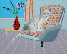 'kat med blomstervase' - akryl og blyant på lærred, 65 x 80 cm Kat, Paintings, Home Decor, Decoration Home, Paint, Room Decor, Painting Art, Painting, Painted Canvas