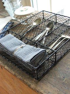 Wire Flatware Tray keeps flatware organized