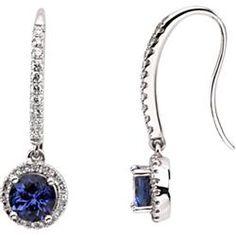 Genuine tanzanite & diamond earrings in white gold