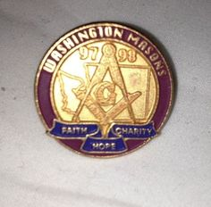 Washington Masons  97/98 Faith Charity Hope Gold Tone Enamel Pinback Lapel Pin