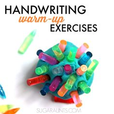 Handwriting warm-up activity- ball of play dough in non dominant hand, several Lite Brite pegs in dominant hand encouraging palm to finger translation for inserting one at a time.