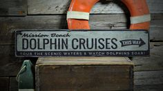 Dolphin Cruises Wood Sign, Personalized Beach Location Sign, Dolphin Lover Ocean Decor - Rustic Hand Made Vintage Wooden Sign ENS1001333