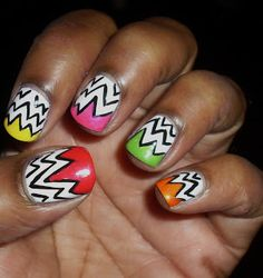 Jagged Tips Nails - black zigzags on white with bright color tips nail art