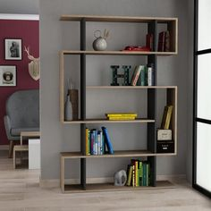 Contemporay unique bookshelf / Modern bookcase in oak, grey, white, moca colours for the UK