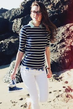 gingham shirt, striped sweater, madras belt and white jeans - summer perfection!