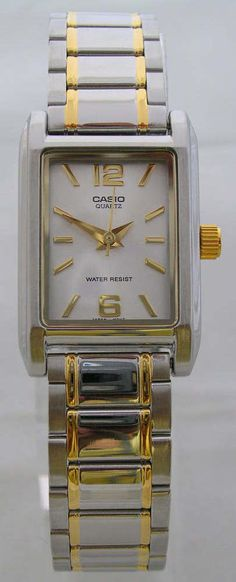 d2e541e2ccc Casio watch Womens Analog Gold Silver Band Stainless Steel LP-1235 water  resist  Casio
