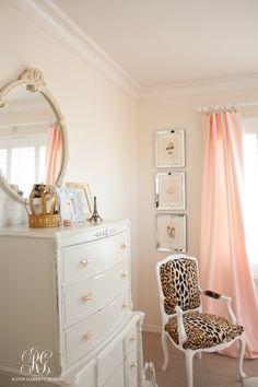 Pink silk drapes and leopard chair by Randi Garrett Design More