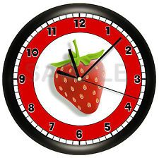 STRAWBERRY WALL CLOCK FRUIT RED KITCHEN DECOR CAFE ART BERRY