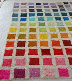 Rainbow Crochet Granny Square Blanket