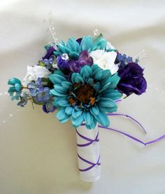 Teal Silk Bridal Bouquet Teal Purple Crystals | AmoreBride - Wedding on ArtFire