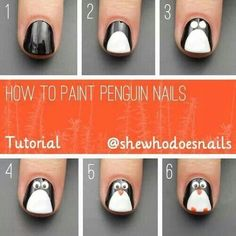How to paint penguin nails.