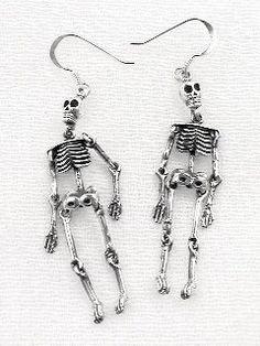 Moveable Sterling Silver SKELETON Earrings - http://geekarmory.com/moveable-sterling-silver-skeleton-earrings/