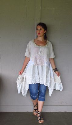 Bohemian summer dress/Lagenlook upcycled clothing/Romantic peasant Tunic/French Shabby dress/repurposed shirt dress plus size oversize